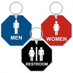 Engraved 3 Inch Octagon Restroom Keytags
